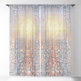 Earth Chakra - Abstract Nature Marble Boho Gold Glitter Pattern Sheer Curtain