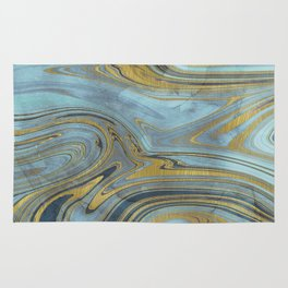 Liquid Teal and Gold Rug