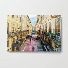 Beautiful Pink Street Downtown Lisbon City, Wall Art Print, Modern Architecture Art, Poster Decor Metal Print