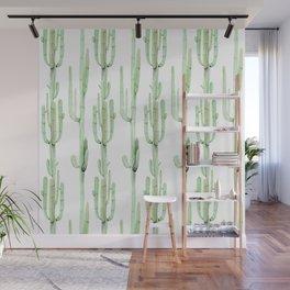 Arizona Wilderness Cactus Green Pattern Wall Mural