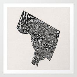 Bergen County, New Jersey Map Art Print