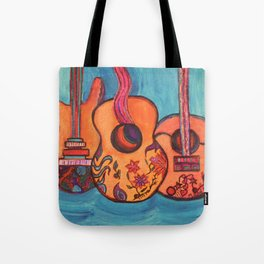 3 Guitars Tote Bag