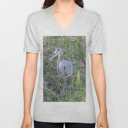 Hello Blue Heron Unisex V-Neck