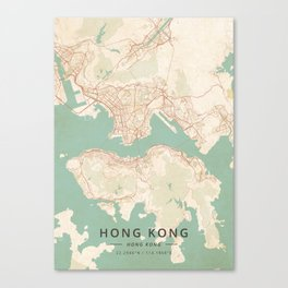 Hong Kong, Hong Kong - Vintage Map Canvas Print