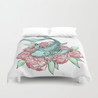 koi fish Duvet Covers featuring Koi Fish by Bare Wolfe
