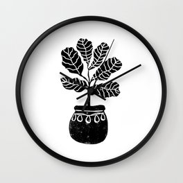 Fiddle Fig linocut house plant lino print black and white minimal art for office decor Wall Clock