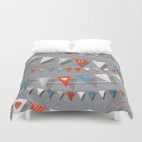 card Duvet Covers featuring Hate card by Lime