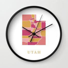Utah map Wall Clock