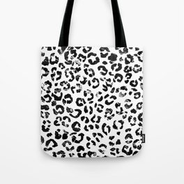 Modern black white marble stylish leopard pattern Tote Bag