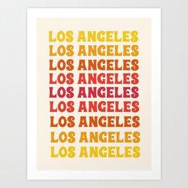 Los Angeles - retro vibes throwback minimal typography 70s colors 1970's LA Art Print