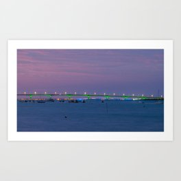 sunset on Charente Maritime bridges / coucher de soleils sur les ponts de la Charente Maritime Art Print