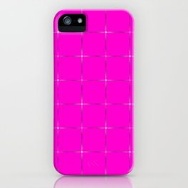 Glowing transparent stars on a pink  black background. iPhone Case