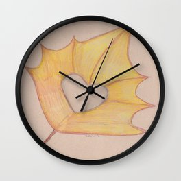 a leaf with a heart Wall Clock