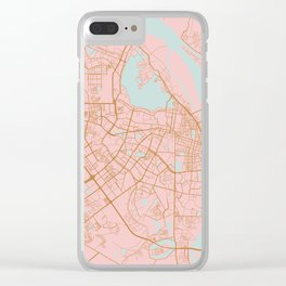 Pink and gold Hanoi map, Vietnam Clear iPhone Case