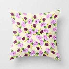 Spiral Pink Hydrangea Red Peony Wren Pattern Throw Pillow