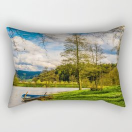 Rowboat on Lake Gengenbach Germany Rectangular Pillow