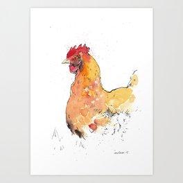 Watchful chicken Art Print