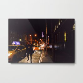 Man Running in the Street for a Taxi Metal Print