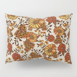 Retro 70s boho hippie orange flower power Pillow Sham