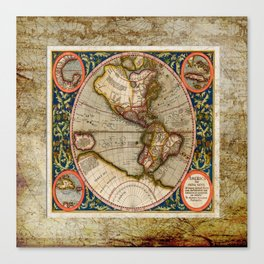 Western Hemisphere Michael Mercator America Canvas Print