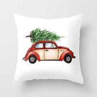 volkswagen Throw Pillows featuring Christmas Volkswagen Bug  by Emily Frazier