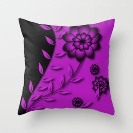 Dazzling Violet Floral Abstract Throw Pillow