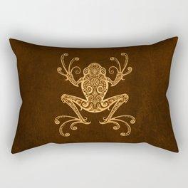 Intricate Golden Brown Tree Frog Rectangular Pillow