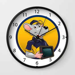 Smiling rat with tv Wall Clock