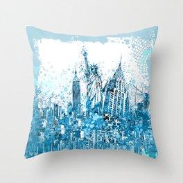 new york skyline blue Throw Pillow