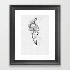 Girl & Helmet Framed Art Print