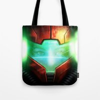 metroid Tote Bags featuring Metroid by Joe Roberts