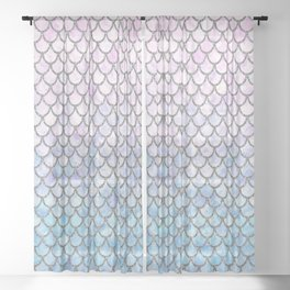 Pastel Mermaid Scales Pattern Sheer Curtain