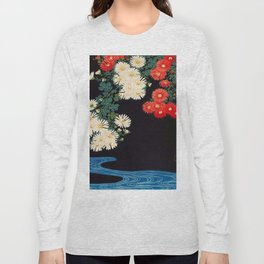 Ohara Koson Chrysanthemums and Running Water 1931 Japanese Woodblock Print Vintage Historical Long Sleeve T-shirt