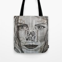 bad wolf Tote Bags featuring Bad Wolf  by Chrissie Brown Art