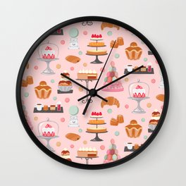 French pastries in pastel Wall Clock