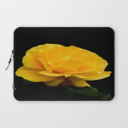 Golden Yellow Rose Isolated on Black Background Laptop Sleeve