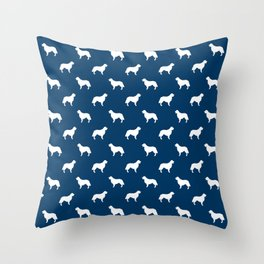 Golden Retriever dog silhouette navy and white minimal basic dog lover pattern Throw Pillow