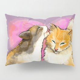 Cat licks a cat on the background of the heart Pillow Sham