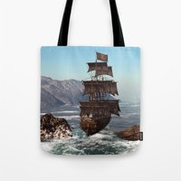 pirate ship Tote Bags featuring Pirate Ship by Simone Gatterwe