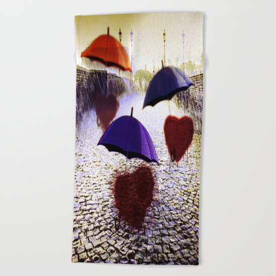 Three Lonely Hearts In the Rain Beach Towel