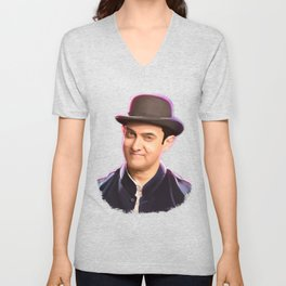Aamir khan portrait Digital Panting Unisex V-Neck