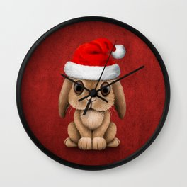 Cute Floppy Eared Baby Bunny Wearing a Santa Hat Wall Clock