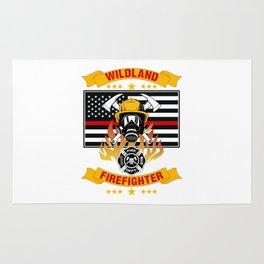 Wildland Firefighter Hero Thin Red Line Smokejumper Gift Rug