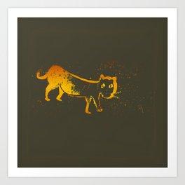 Golden Tiger Cat at Night Art Print