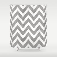 gray Shower Curtains featuring gray chevron by her art