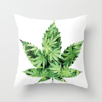 cannabis Throw Pillows featuring Cannabis Leaf by Teo Sharkson