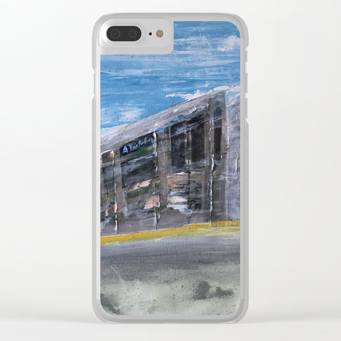 Moving A Train on NYC MTA Platform Clear iPhone Case