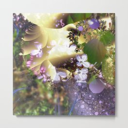 Floral fractals mixed reality Metal Print