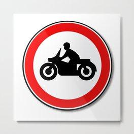 Motorcycle Round Traffic Sign Metal Print