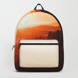 Red Orange Sunrise Parallax Mountains Pine tree Silhouette Minimalist Photo Backpack